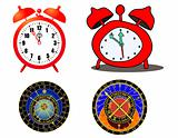 various clock and astronomical clock - vector