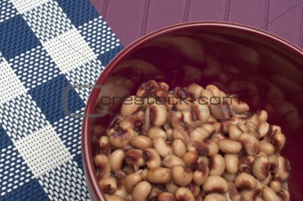 Close Up of Bowl of Canned Black Eyed Peas