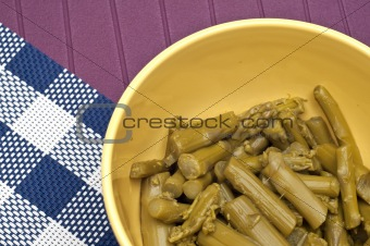 Close Up of Bowl of Canned Asparagus