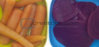 Close Up of Bowl of Canned Beets and Carrots