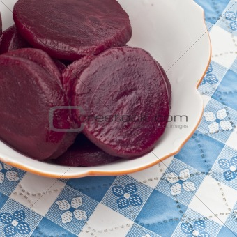 Close Up of Bowl of Canned Beets