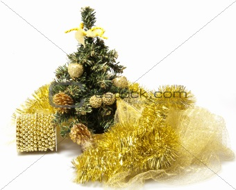 A Christmas tree and decorated  golden