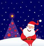 Winter night: Happy Santa with Christmas tree