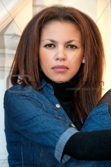 beautiful young mulatto woman  portrait outdoor,  pensive