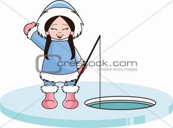 Eskimo Girl Ice Fishing