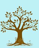 Abstract Tree Silhouette with Leaves and Vines Brown