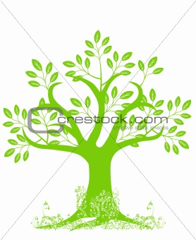 Abstract Tree Silhouette with Leaves and Vines