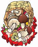 Autumn harvest: mushrooms in the basket