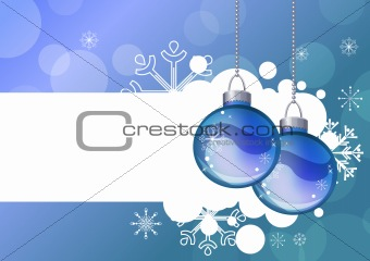 Blue background with hanging balls