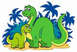 Cartoon dinosaur family