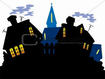 Cartoon village skyline