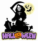 Grim reaper with Halloween sign