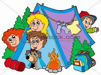 Group of camping kids