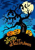 Happy Halloween theme with tree
