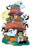 Haunted house with various characters