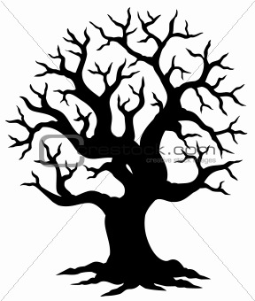 Hollow tree silhouette