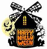 Mill with Happy Halloween sign 1