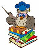 Owl teacher sitting on four books