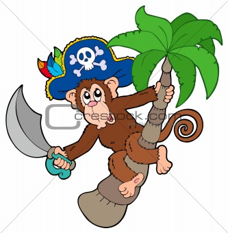 Pirate monkey with palm tree