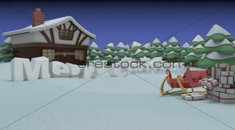 sleigh and gifts in christmas setting