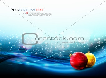 Christmas Banner with Realistic Balls and Falling Snowflakes