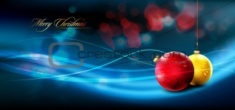 Christmas Banner with Realistic Balls and Shiny Wet Drops
