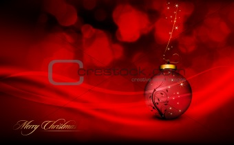 Deep Red Christmas Greeting with Floral Globe and Golden Decorat