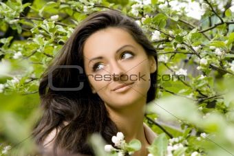 beautiful and attractive woman in the park
