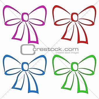 Bows, set, pictogram