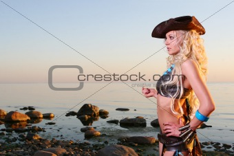 beautiful blond woman in pirate image