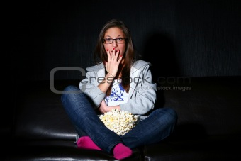 girl watching new movie