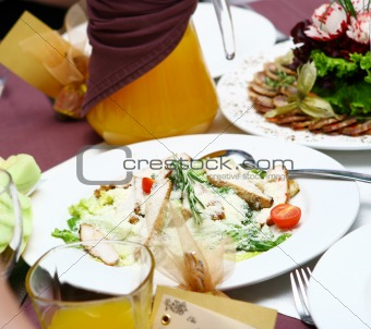 fresh and tasty food on table