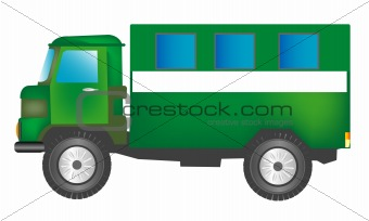 Green cargo car with box
