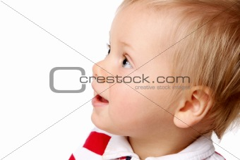 a litle funy kid on white