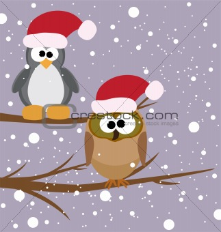 an owl and a penguin on a tree with santa's hats