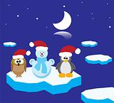 an owl, a penguin and a snowman on the ice floes