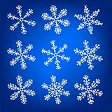 Snowflake white and blue winter vector set