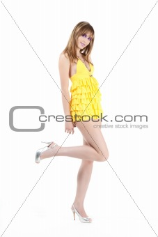 beautiful Girl On White Background