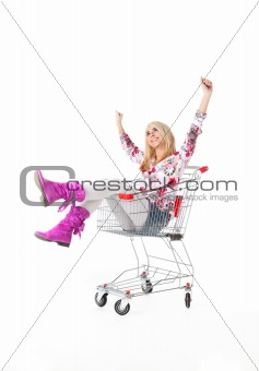 beautiful woman  with  cart