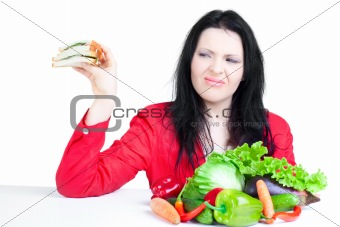 beautiful woman  with vegetables