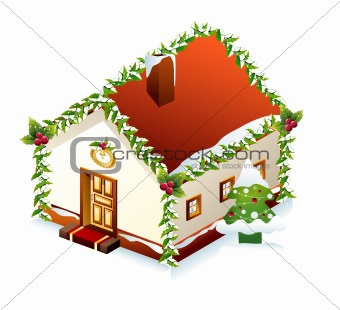 Gingerbread House with tree. Vector