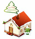 Xmas greeting card. Christmas vector house