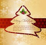 Cartoon Christmas Tree on gold card. Vector