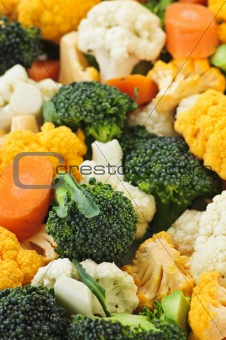 Broccoli cauliflower and carrots