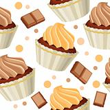 Seamless pattern with muffins
