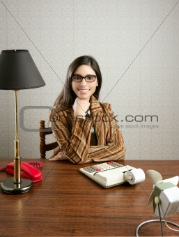 accountant secretary retro woman vintage office