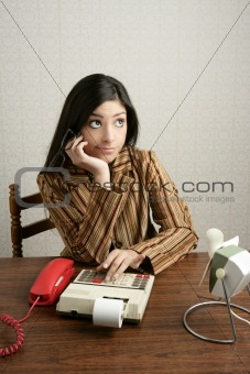Accountant retro woman calculator negative expression