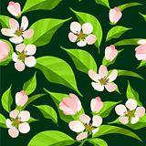 Seamless pattern with blossoming branches