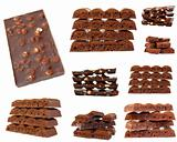 Chocolate isolated on white background. Collage
