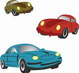 Set of icons with cartoon cars.